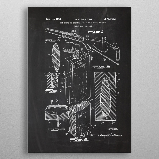 1951 Gun Stock of Expanded Cellular Plastic Material - Patent Drawing metal poster