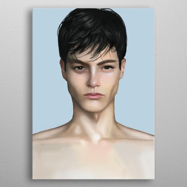Handsome guy portrait. Hope u like it. metal poster
