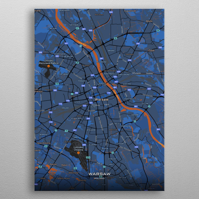 Detailed maps of Warsaw Poland metal poster