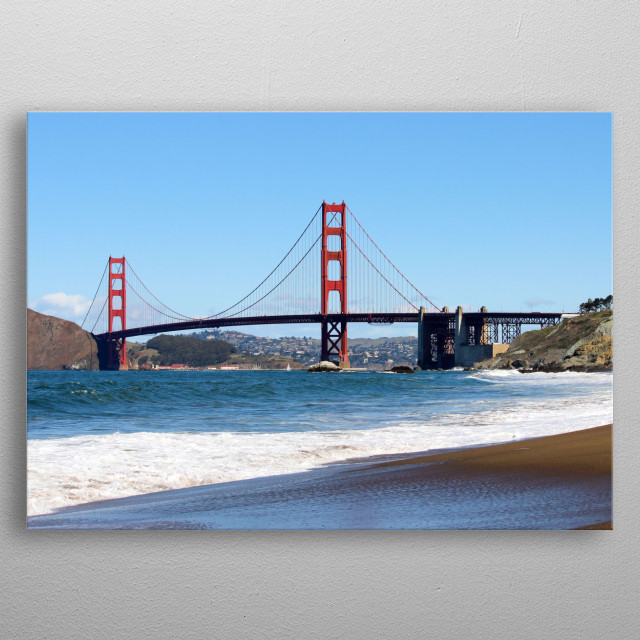 A shot of the golden gate bridge in San Francisco, California.  metal poster