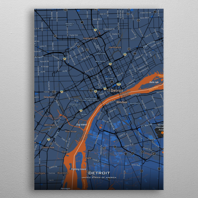 Detailed maps of Detroit USA metal poster
