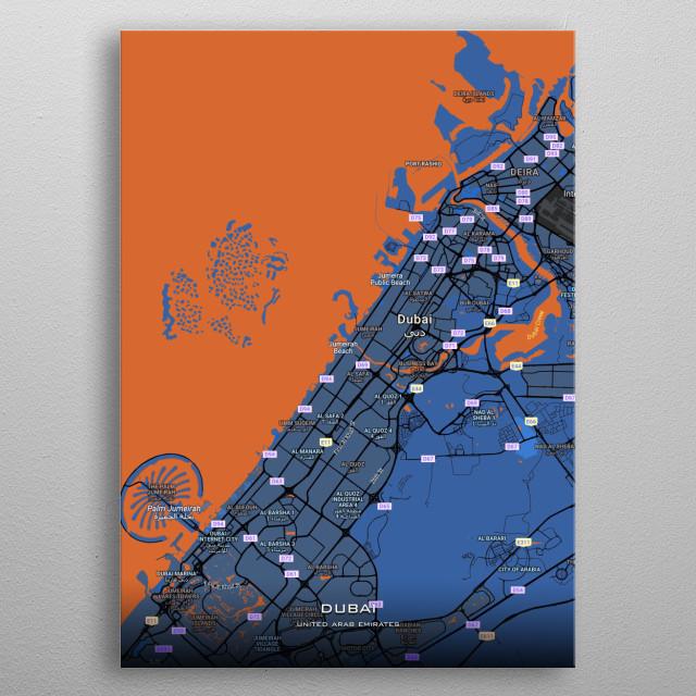 Detailed maps of Dubai UAE metal poster