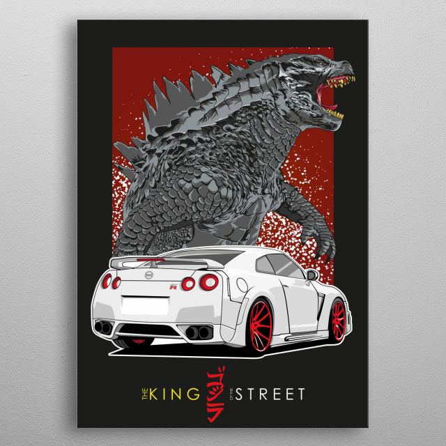 The Illustration Of Nissan GTR and The Godzilla inspired by The Anime MF Ghost metal poster