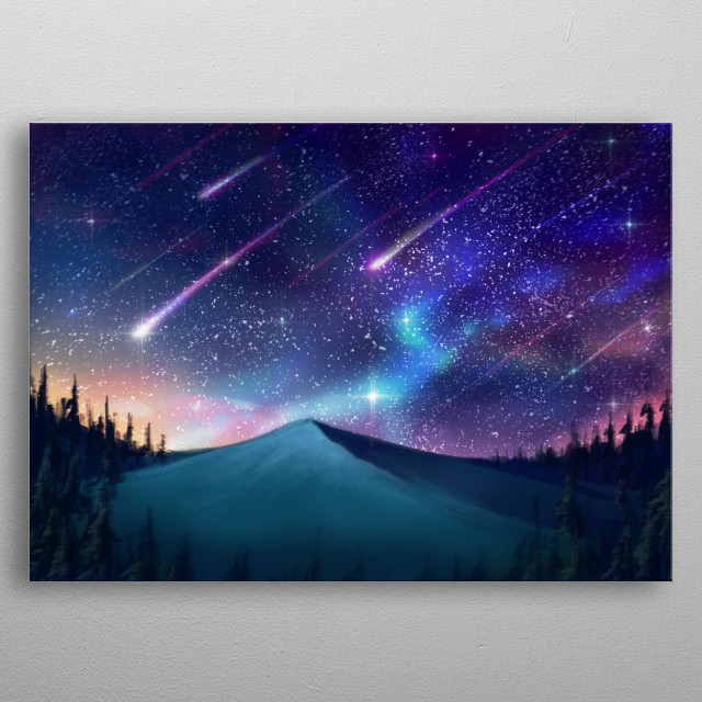 Falling Star with Hope, Wish and Dream metal poster