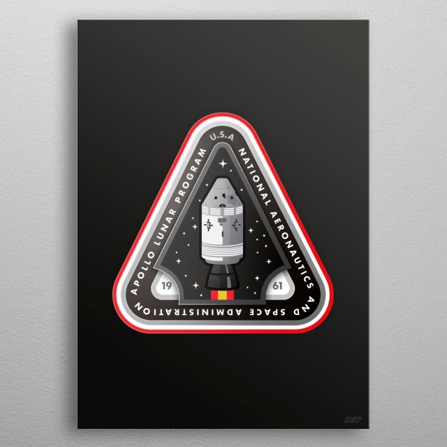 The third design in my space mission design series. This one features the Apollo program - Americas first attempts at a moon mission. metal poster