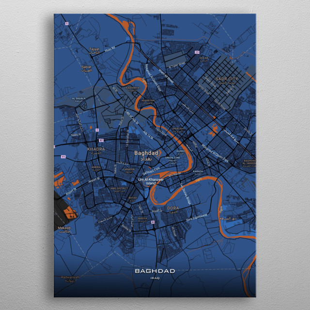 Detailed maps of Baghdad Iraq metal poster