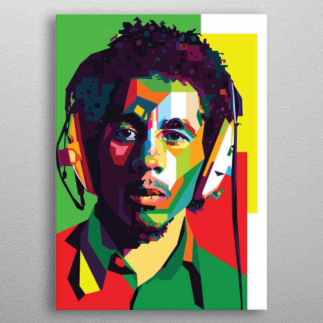 Bob Marley in WPAP Pop Art metal poster