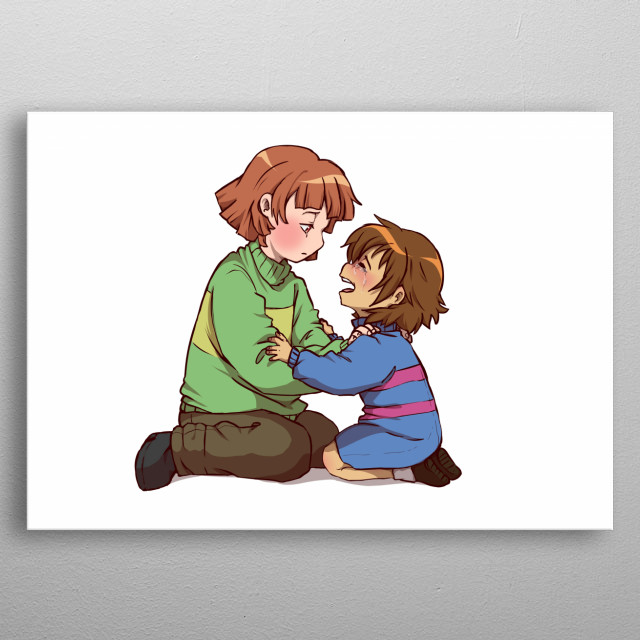 Chara and Sad Frisk from undertale metal poster