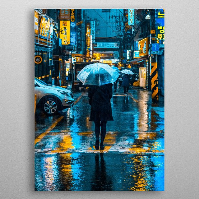 Inspired by Andy Warhol, different versions of Incheon Rain. metal poster