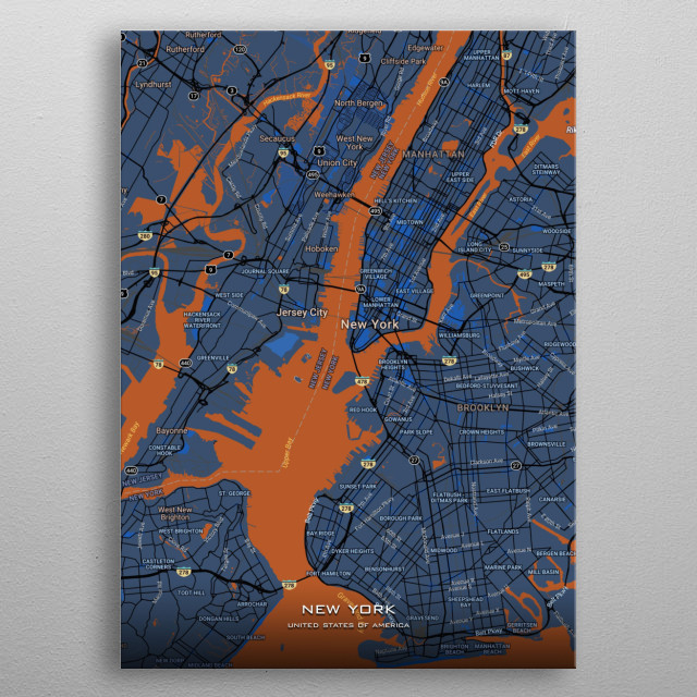 Detailed maps of New York USA metal poster