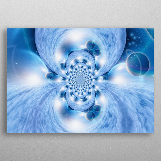 Abstract painting. Mirrored round fractal with planets in deep space metal poster