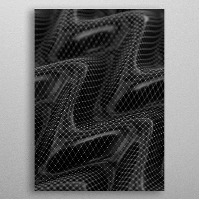 Abstract landscape covered by a translucent net.  Art created in Cinema4D and enhanced in Photoshop, I hope you like it :) [bw18]  metal poster