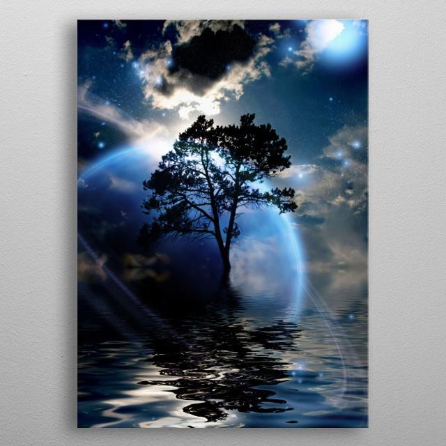 Alien exosolar planet landscape. Lonely tree in water world metal poster