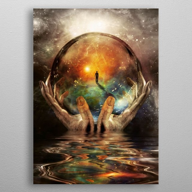 Crystal ball in hands with abstract space background metal poster