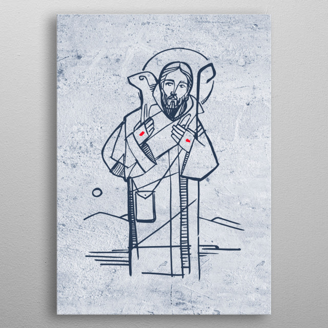 Hand drawn illustration or drawing of Jesus Christ Good Shepherd metal poster
