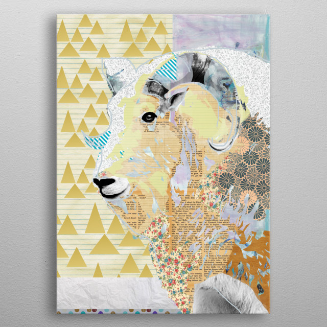 Goat Collage metal poster