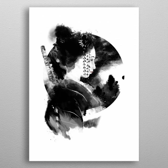 samurai lady metal poster
