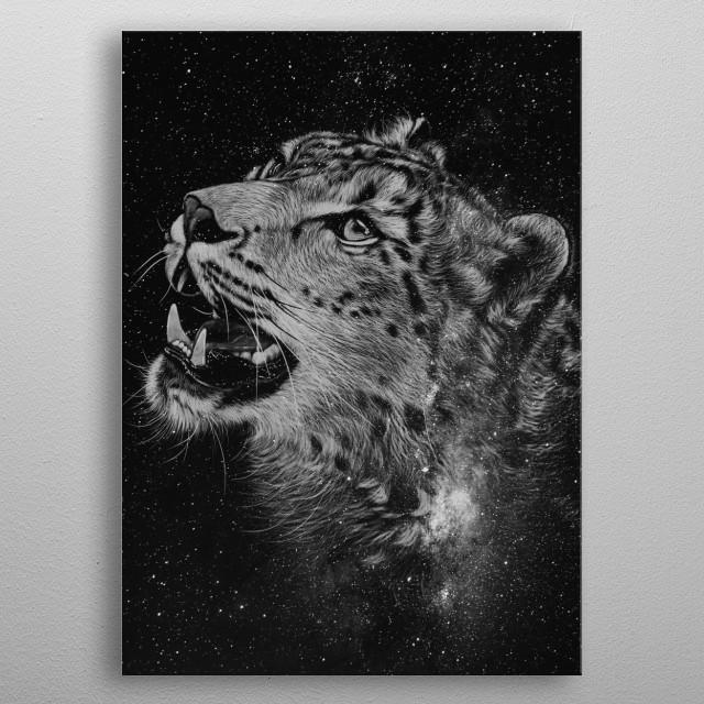 Leopard Black&White metal poster