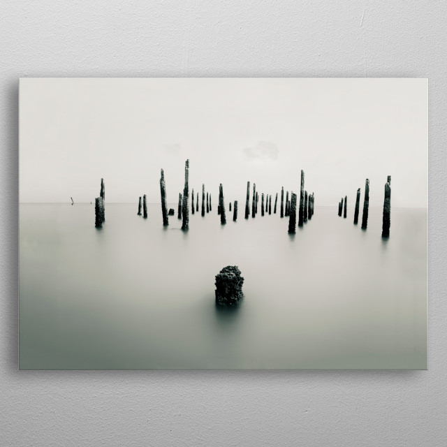 Horizontal monochrome photography of seascape scenery, minimalism calmness of wooden sticks lines at the sea on a long exposure shot metal poster