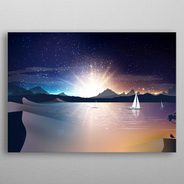 stars, sunset and sailing boats, inspired by Italian sailing boats on the lake Garda metal poster
