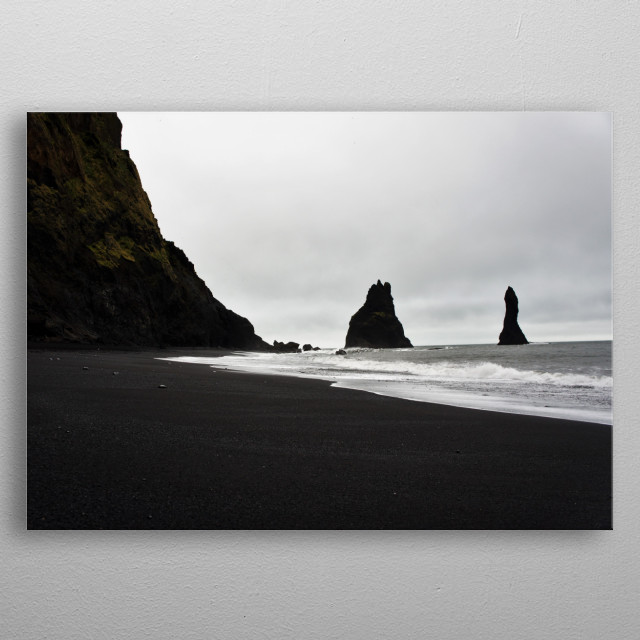The beautiful and mystifying beach of Reynisfjara, Iceland  metal poster