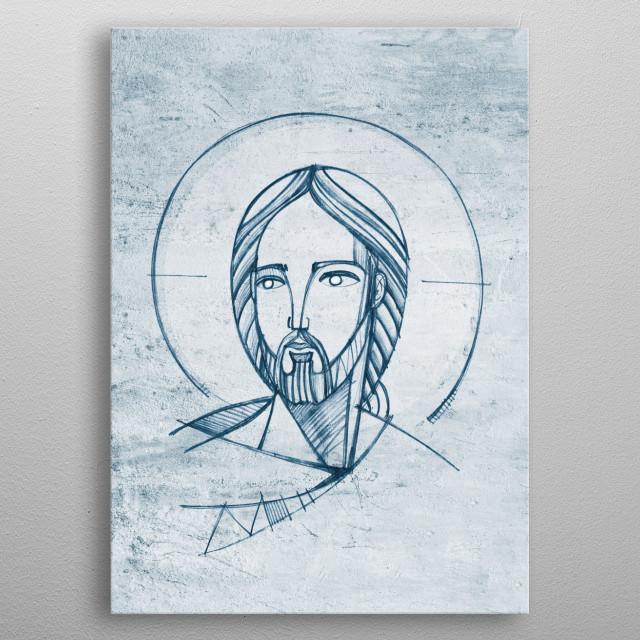 Hand drawn illustration of Jesus Christ Face metal poster