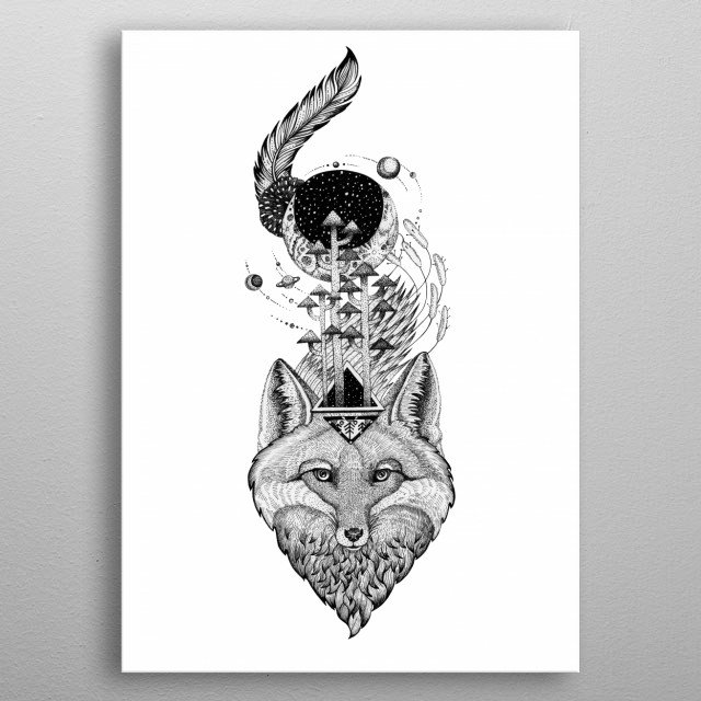 Space Fox Tattoo style art black and white line art, ink art BW18  metal poster