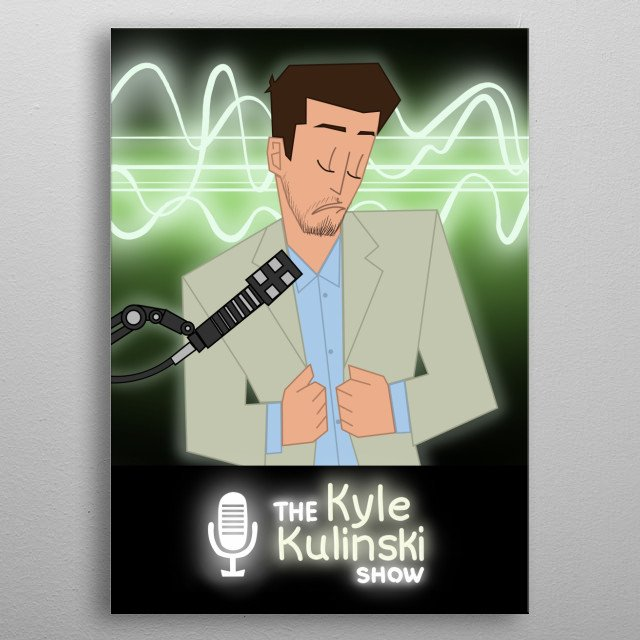 This is an artwork of political commentator Kyle Kulinkski. His YT channel: Secular Talk. It depicts the moments he mocks a corporatist.  metal poster