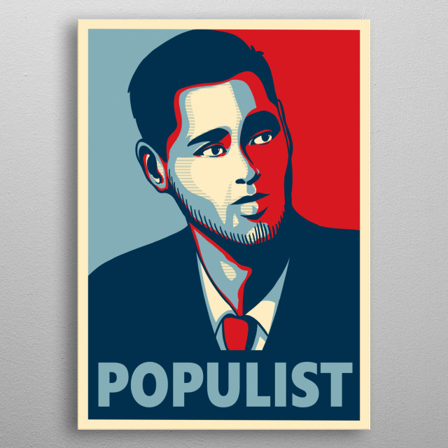 This is an Obama-style piece of political commentator Kyle Kulinkski. His YT channel: Secular Talk. He considers himself populist left. metal poster