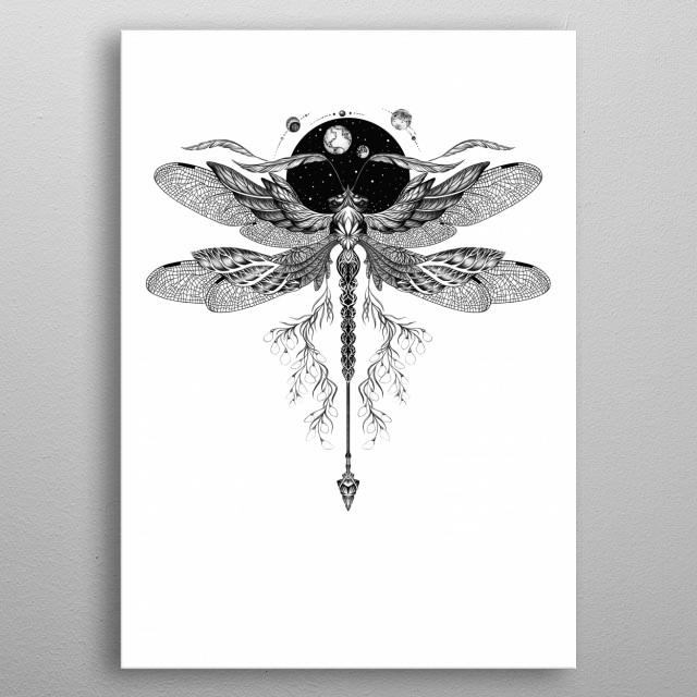 Dragonfly tattoo style art BW18 metal poster