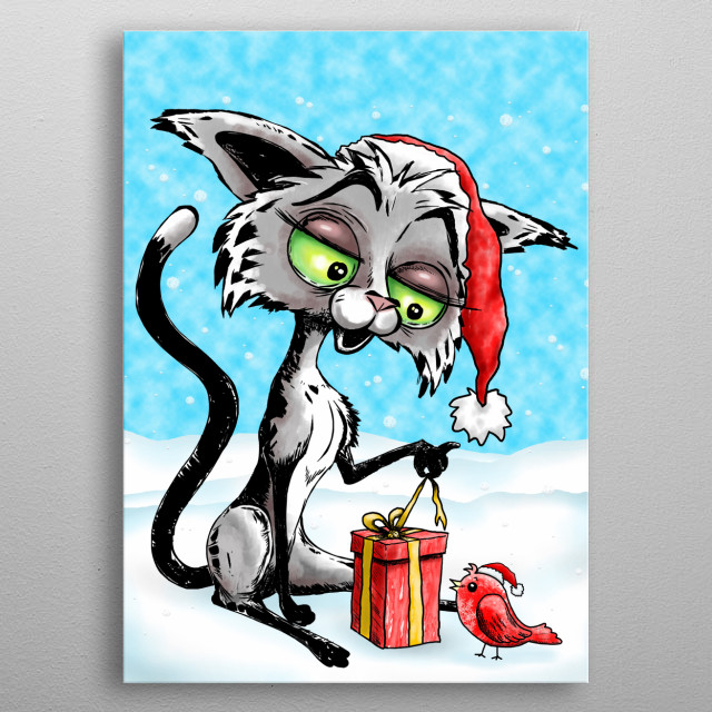 Happy Cat Cartoon and little red bird wearing Santa Beany, sitting on a snowy winter landscape and opening a christmas gift on the Holidays  metal poster