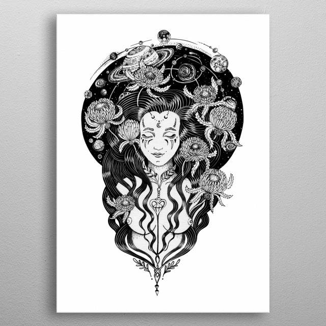 Space Goddess Ink art, tattoo style  metal poster