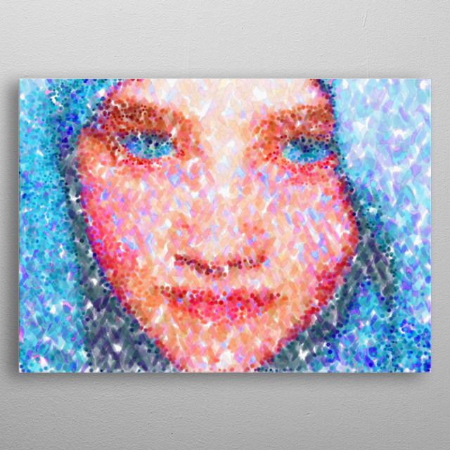 Girl in a Blue Headdress is a Seurat style abstract artwork based on my original photo. metal poster