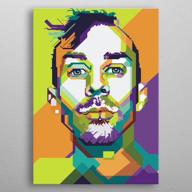 Illustration of 45 pop art style late travis barker drummer blink 182 music group. metal poster
