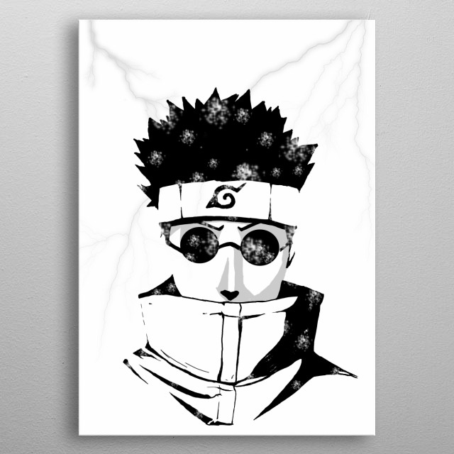 Illustration of Shino from the anime/manga Naruto. With white Background metal poster