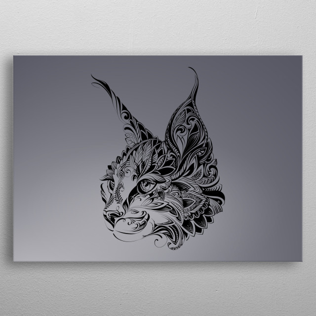 lynx abstract portret in minimalism style  metal poster