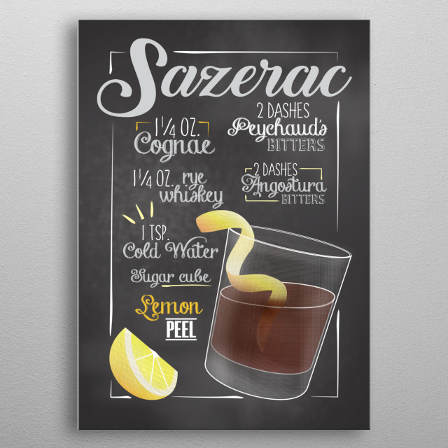 Cocktail Bar - This Cocktail Displate is perfect for cocktail lovers men and women and as decoration for bars and restaurants. Sazerac metal poster