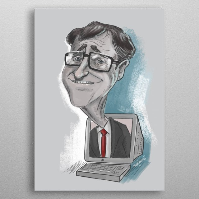 A caricature of Bill Gates. metal poster