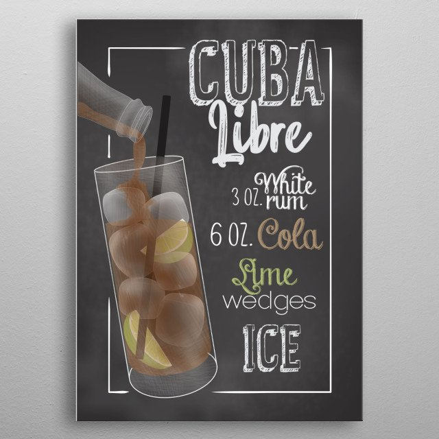 Cocktail Bar - This Cocktail Displate is perfect for cocktail lovers men and women and as decoration for bars and restaurants. Cuba Libre metal poster