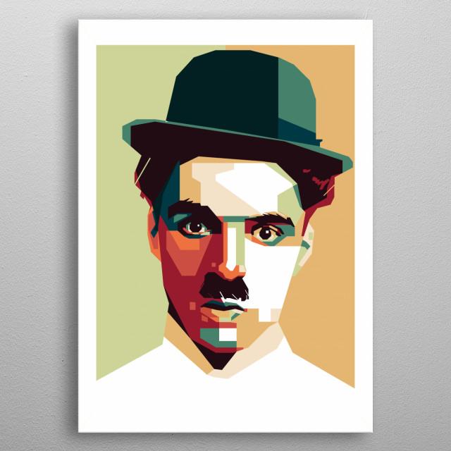 Charlie Chaplin in WPAP (Wedha's Popart Portrait) metal poster
