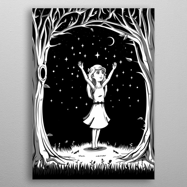 The girl among the stars metal poster