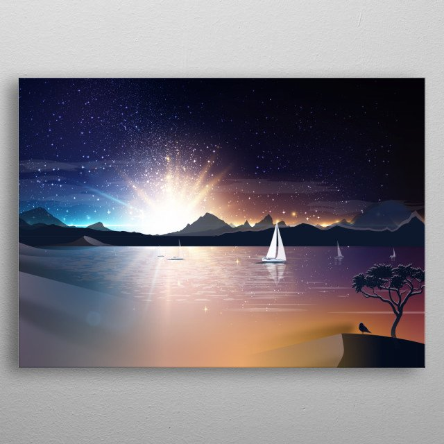 do you like sailing? is wonderful... inspired by wonderful views os a night sea with sailing boat metal poster
