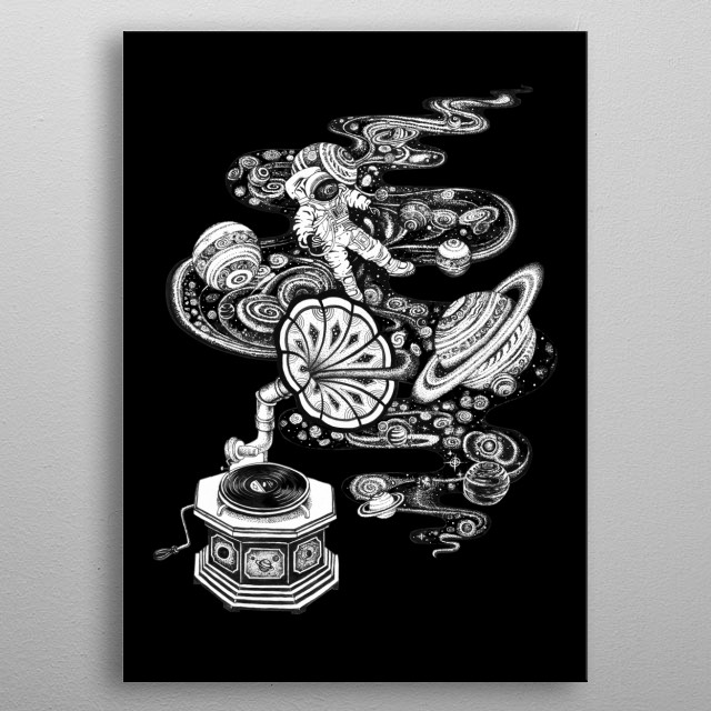 Cosmos Music space art line work ink art tattoo style. metal poster