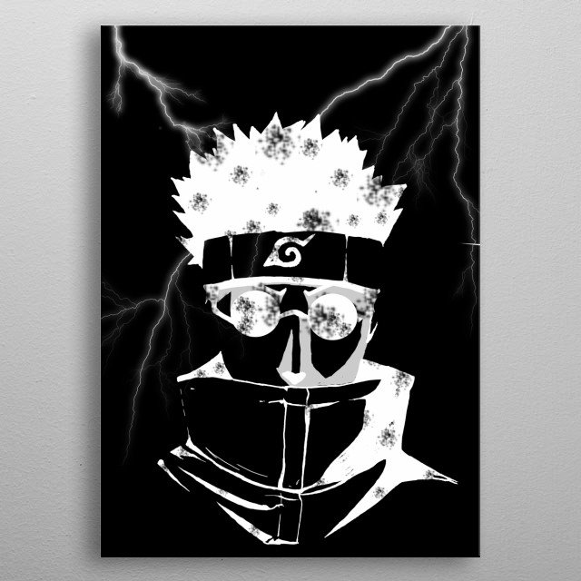 Illustration of Shino from the anime/manga Naruto. With Black Background metal poster