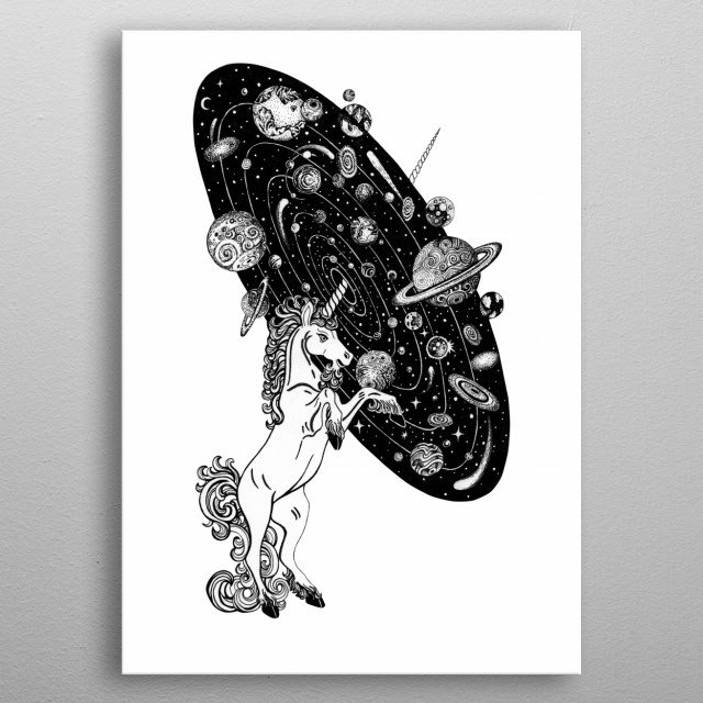Cosmos Unicorn space art line work ink art tattoo style. metal poster