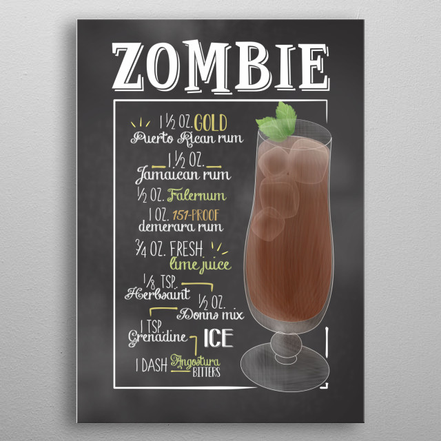 Cocktail Bar - This Cocktail Displate is perfect for cocktail lovers men and women and as decoration for bars and restaurants. Zombie metal poster