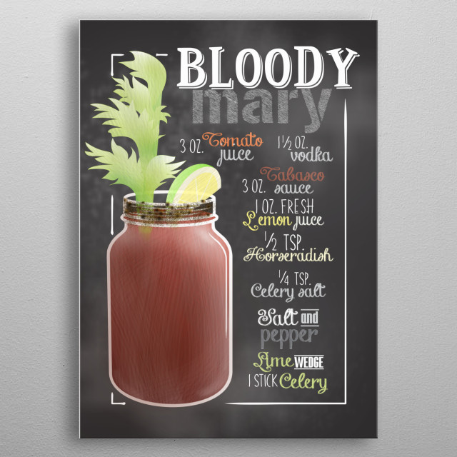 Cocktail Bar - This Cocktail Displate is perfect for cocktail lovers men and women and as decoration for bars and restaurants. Bloody Mary metal poster