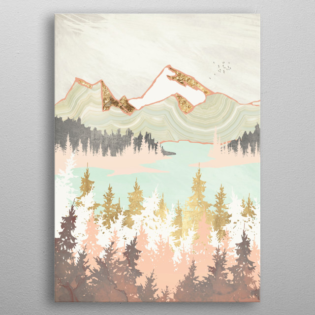 Abstract landscape of a winter bay with trees, gold, pink and mint metal poster