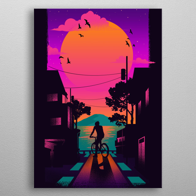 Take a pause and stare at the sun. metal poster