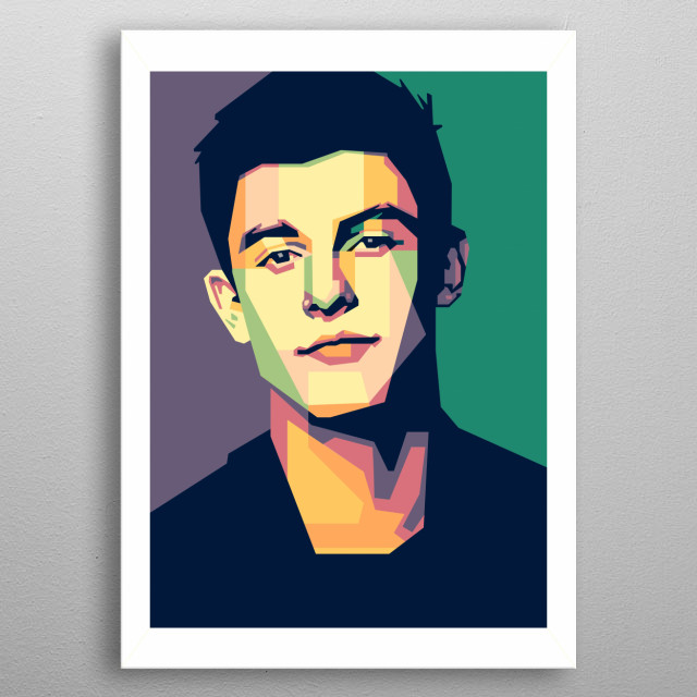 Shawn Mendes in WPAP (Wedha's Popart Portrait) metal poster